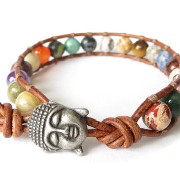 Buddha head wrap bracelet 'Gemstone Surprise', unique gift for best friend, cute yoga jewelry for women & girls