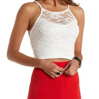 Racer Front Lace Crop Top by Charlotte Russe