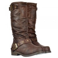 Rocket Dog Bartlett Vintage Biker Mid Calf Boot - Distressed Look - Rogue Brown - Rocket Dog from Onlineshoe UK