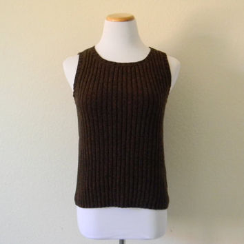 FREE usa SHIPPING women's brown knit vest pullover vest cable  scoop neck retro groovy bohemian chic cotton acrylic hipster preppy size M