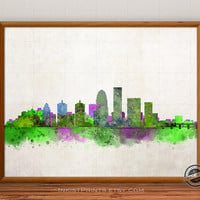 Louisville Skyline Poster Watercolor, Kentucky Print, Cityscape, City Painting, Illustration Art Paint, Giclee Wall, Home Decor