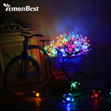 Fairy 5m Solar Powered RGB Waterproof String Lights Peach Blossom String Lamp for Christmas tree Home Indoor/Outdoor Decoration