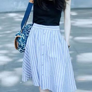 Midi Skirt - Gray and White Vertical Stripes / Button Front