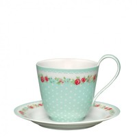 GreenGate June Tea Cup & Saucer Mint  | Occa-Home.co.uk