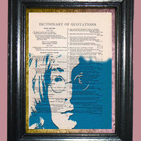 John Lennon The Beatles Blue Silhouette Art - Vintage Dictionary Page Art Print Upcycled Book Page Art Collage Art Deco Print