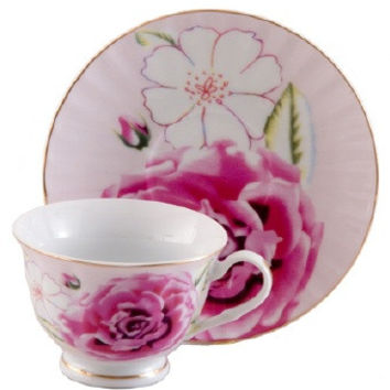Pink Morning Teacups Set of 6 includes 6 Tea Cups & 6 Saucers