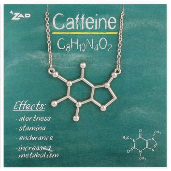 Chemical Reactions Caffeine Molecule Necklace
