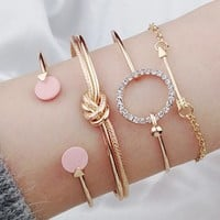 8DESS Sweet fashion jewelry bracelet Statement golden crystal hand accessories Trendy multilayer clothing accessories