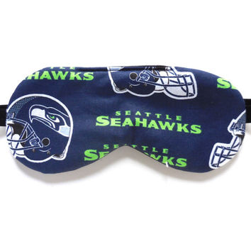 Seattle Seahawks Sleep Mask, Eye Eyemask, For Men Women Adult Child Kid Boy Girl, NFL Football, Cotton Satin or Fleece Back, Sports Fan