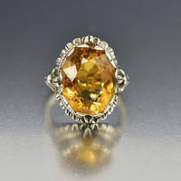 Arts & Crafts Sterling Silver Citrine Ring 1910s