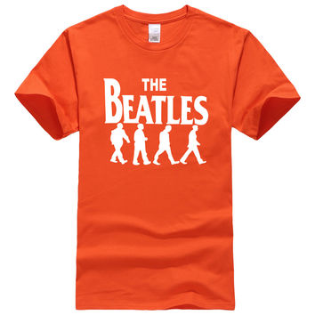 THE BEATLES Rocking Band Printed Cotton T-Shirt for Boys Short Sleeve Hip-Hop Streetwear Tops