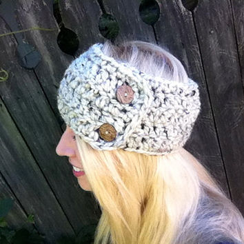 Plush Chunky Wool Headwrap Headband in Wheat- Multiway Versatile Neck warmer- Button Headwrap