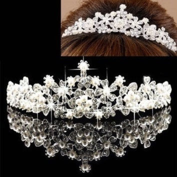 Fashion Bride Crown Romantic Wedding Dress Handwork Crystal Diamante Headband Jewelry Headwear Banquet Hair Accessories Gift