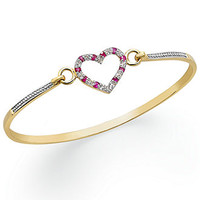 Victoria Townsend 18k Gold over Sterling Silver Ruby (1/10 ct. t.w.) and Diamond Accent Heart Catch Bangle Bracelet