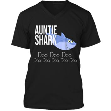 """Auntie Shark"" Baby Mommy Daddy Matching Family Shark  Mens Printed V-Neck T"