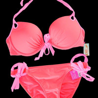 New Victoria's Secret Gorgeous Push Up Neon Coral Pink Bikini Swimsuit 34C  M