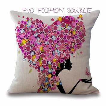 Deco - Pillow Covers with Floral Girl(6) Pretty  Floral Scenes