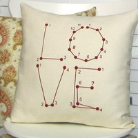 Love Pillow Cover - Connect the Dots - Puzzle Game, Typography, Ruby Red Paisley Pattern (PCLV1)