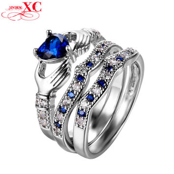 Romantic Heart Blue Sapphire Claddagh Rings for Women 925 Sterling Silver White Gold Filled CZ Diamond Wedding Ring Sets R338
