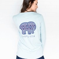 Ella Fit Pale Sky Diamond Mosaic Tee