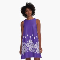 """""""Ultraviolet with White Lace Effect"""" A-Line Dress by Greenbaby   Redbubble"""
