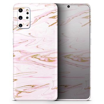 Rose Pink Marble & Digital Gold Frosted Foil V15 - Skin-Kit for the Samsung Galaxy S-Series S20, S20 Plus, S20 Ultra , S10 & others (All Galaxy Devices Available)