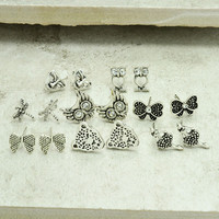 New fashion jewelry vintage silver plated cute owl bow stud set many design gift for women girl E2834