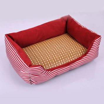Red Striped Pet Cooling Bed