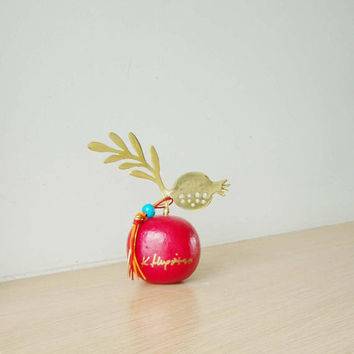 Small pomerganate sculpture on red base, brass pomegranate and leaf on red coloured stone, Greek folk art, good luck pomegranate art object