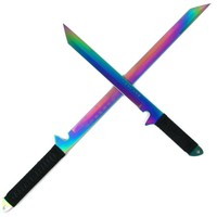 Whetstone Cutlery Rainbow Blade Full Tang Ninja Sword Set with Sheaths