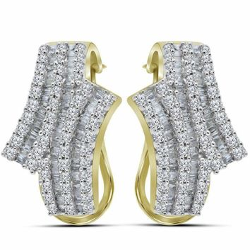 14kt Yellow Gold Women's Round Baguette Diamond Bypass Hoop Earrings 1-1-8 Cttw - FREE Shipping (US/CAN)