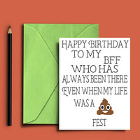 Birthday card for best friend - Funny birthday card for her - Birthday card for friend - Funny birthday card - Best friend card - Printable