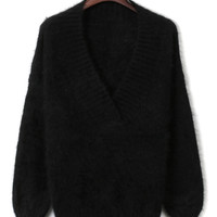 Black V-neck Fluffy Knitted Sweater
