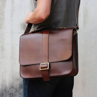 Handmade Leather Briefcase -- 'Big Buckle' Messenger Bag -- Full-size Leather Briefcase -- Leather Bags and Purses