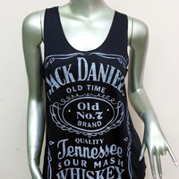 Jack Daniel's Tennessee Whiskey Old Time T-Shirt Women shirt Tank Top vest sleeveless shirt screen Rock Punk classic Black S27 Size S M