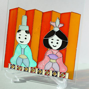 Royal Prince and Princess: hand painted Japanese decorative plate, wafu glass plate, personalized gift for dating/ wedding/ anniversary