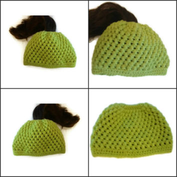 Ponytail Hat Puff Stitch Crochet Green Messy Bun Hat Handmade Handcrochet Bun Hat