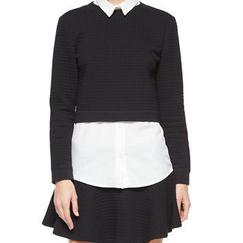 Faux-Layered Check-Embossed Sweater Top, Size: