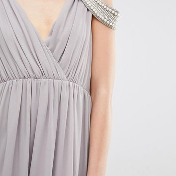 TFNC Petite Wedding Cold Shoulder Wrap Front Maxi Dress