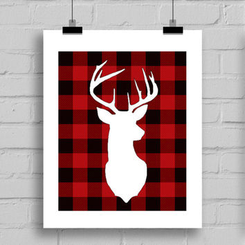 Plaid Deer Head Christmas Decorations, Cabin Themed Decor, Winter Decor, PDF/JPG, 8x10 Inches