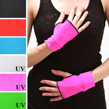 TRIXY XCHANGE - Neon Pink Anime Gloves Cosplay Gloves Uv Reactive Blacklight Hand Warmers PVC Vinyl Nylon Burning Man Arm Covers Fingerless