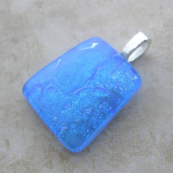 Dichroic Blue Pendant, Necklace Slider, Dichroic Jewelry - Mystic Memories - 3574 -2