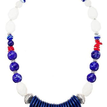 DCCKV2S Lonna & Lilly Silver-Tone and Blue Large Beaded Collar Necklace, 24' + 4' Extender