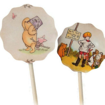 Classic Winnie The Pooh Cupcake Toppers Food Picks, Baby Shower Decorations, Classic Winnie the Pooh Party, Birthday Party Decorations