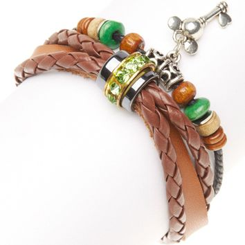 Brown Leather & Silver Mickey Key Bracelet