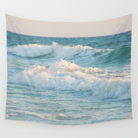 The waves Wall Tapestry by Erin Johnson