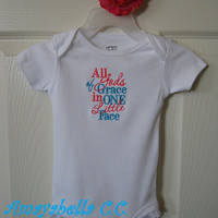 READY to SHIP SALE All of Gods grace in one little face Onesuit eyelet trim  6 months