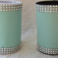 Wedding Bridal Shower Guest Book Sign In Pen Holder in Blue Green with Faux Rhinestone Trims