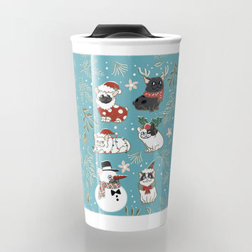 Christmas French Bulldog Travel Mug by huebucket