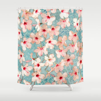 Shabby Chic Hibiscus Patchwork Pattern in Peach & Mint Shower Curtain by Micklyn
